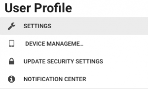 User Profile Menu
