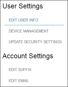 User Settings