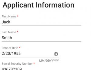 applicant info