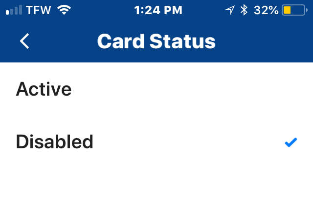 Disable card