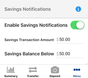 Savings notifications